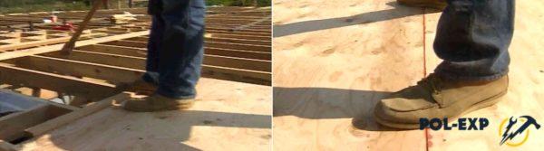 Подбивка листов фанеры для уплотнения стыков