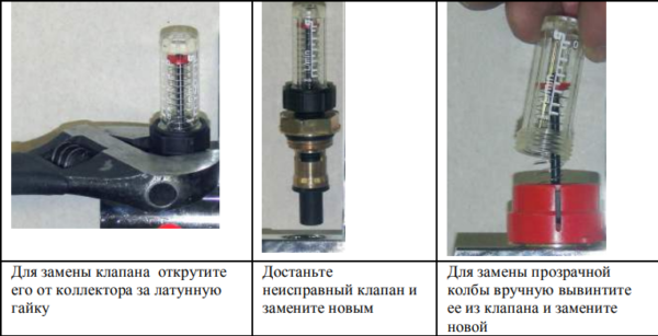 Действия при ремонте настроечного клапана