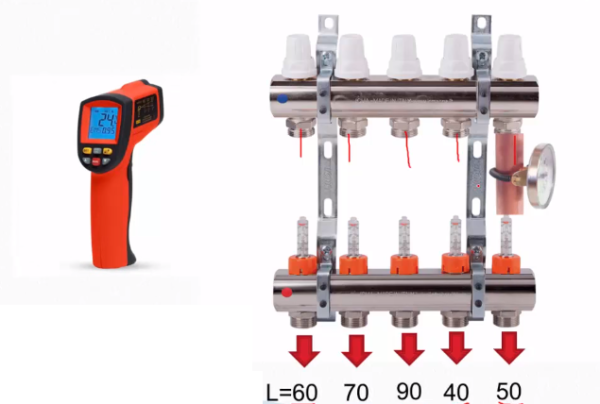 Для измерения можно пользоваться накладным термометром или более современным пирометром
