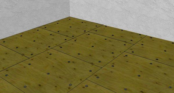 Фиксация листов фанеры по углам и в центре
