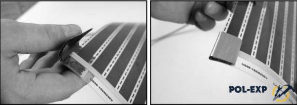 Изолируйте с двух сторон линии отреза контактной полосы, находящейся в конце термопленки