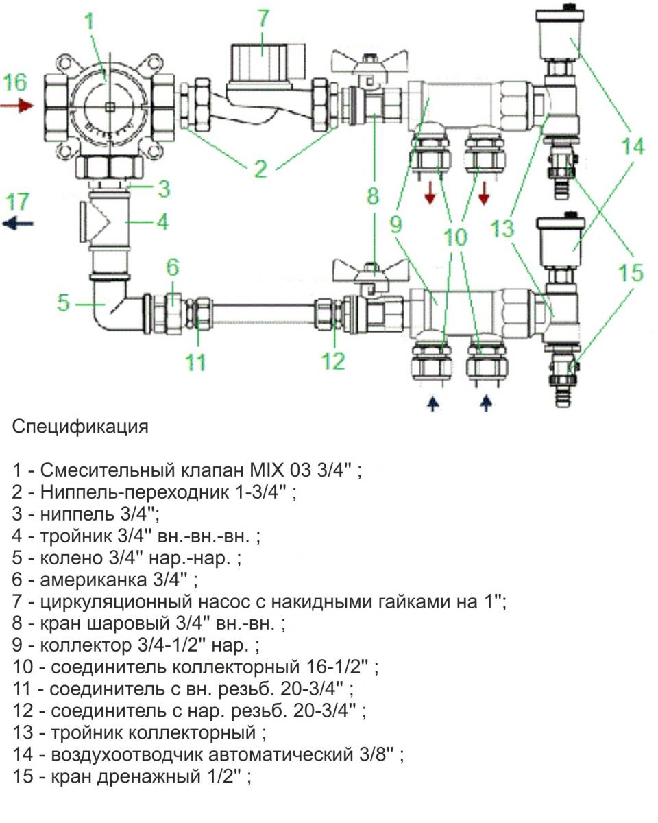 Схема коллектора теплого водяного пола фото 8