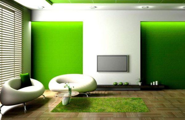 Оформление гостиной в зеленом цвете