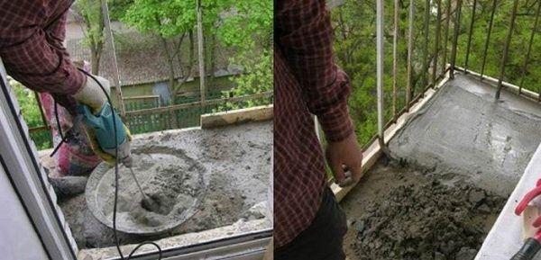 Подъем уровня пола на балконе с помощью стяжки