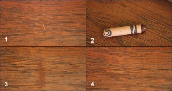 Устранение царапины на ламинате с помощью мелка
