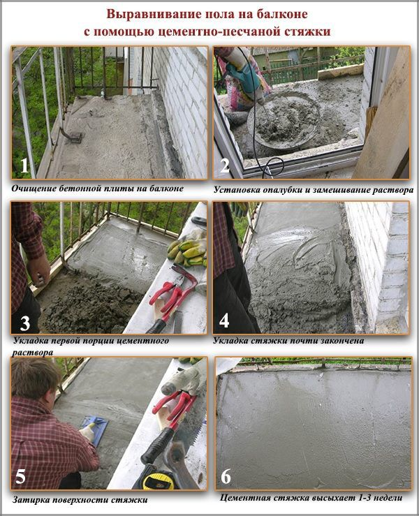 Выравнивание пола на балконе с помощью цементно-песчаной стяжки