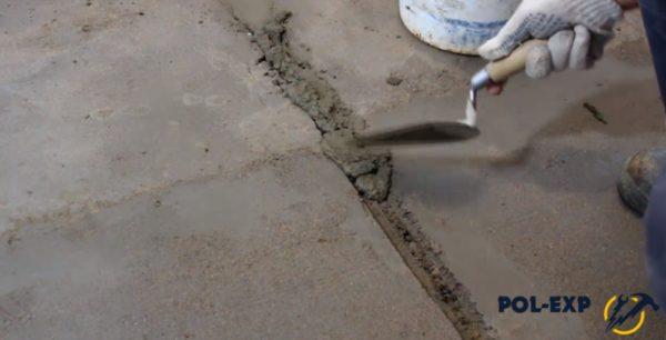 Заделка выемок цементным раствором