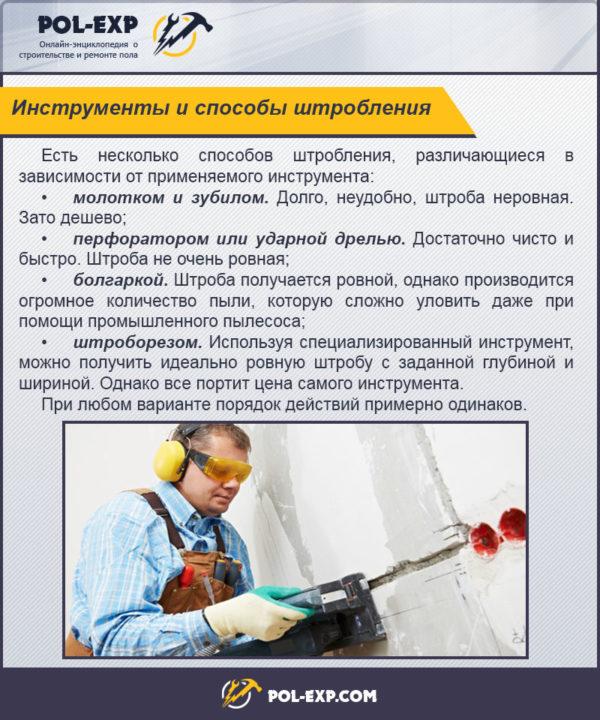 Инструменты и способы штробления