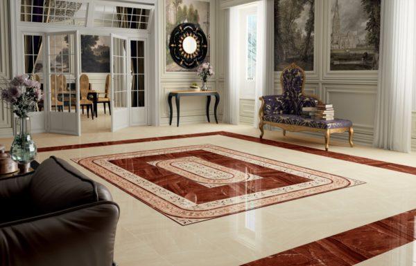 Пол с имитацией благородных натуральных камней в просторной гостиной сделает ее атмосферу торжественной