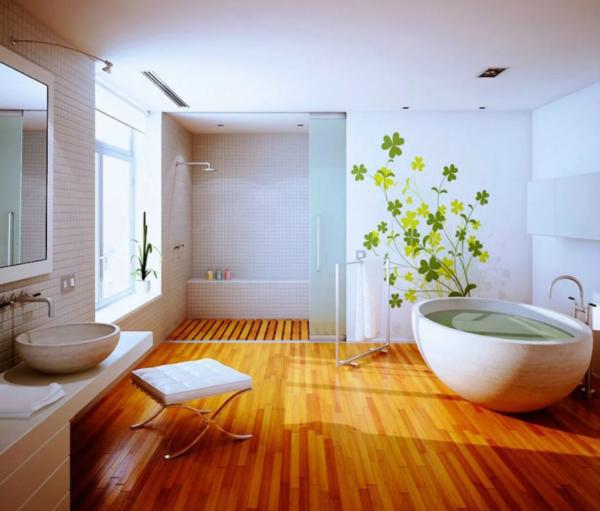 Натуральная древесина в ванной. Вариант 1
