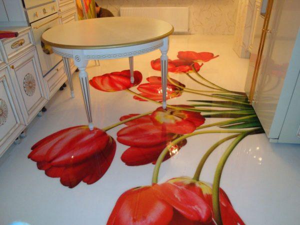 Наливной пол может стать украшением интерьера кухни, выполненного в любом стиле
