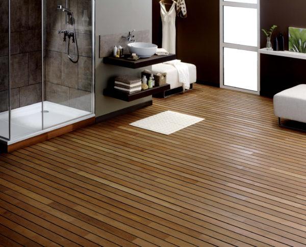 Натуральная древесина в ванной. Вариант 6