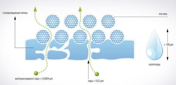 Общая схема прохождения влаги через пароизоляционный материал