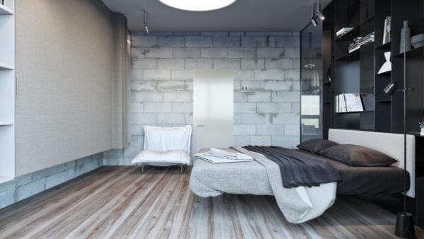 Светлый деревянный пол в спальне в стиле лофт