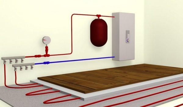 Температура теплоносителя в контуре теплого пола зависит от тепловой нагрузки, шага укладки, диаметра труб, толщины стяжки и материала напольного покрытия