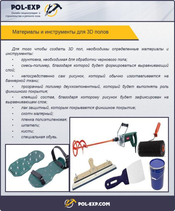 Материалы и инструменты для 3D полов