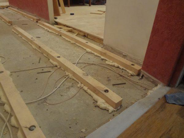 Крепление лаг непосредственно к бетону