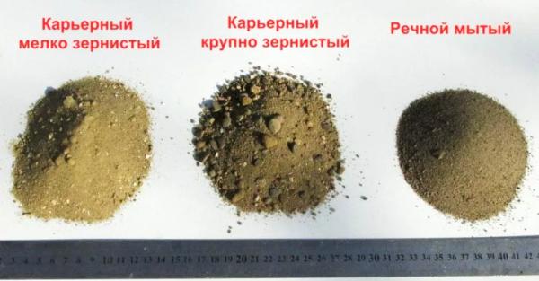 Различие песка по фракциям