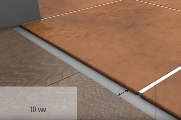 Расстояние между плиткой и ламинатом используется также для фиксации стыковочного порожка