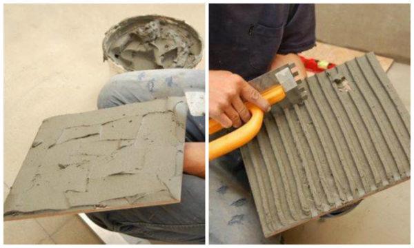Напольная плитка имеет большие размеры, чем настенная, поэтому клей наносят и на ее оборотную сторону