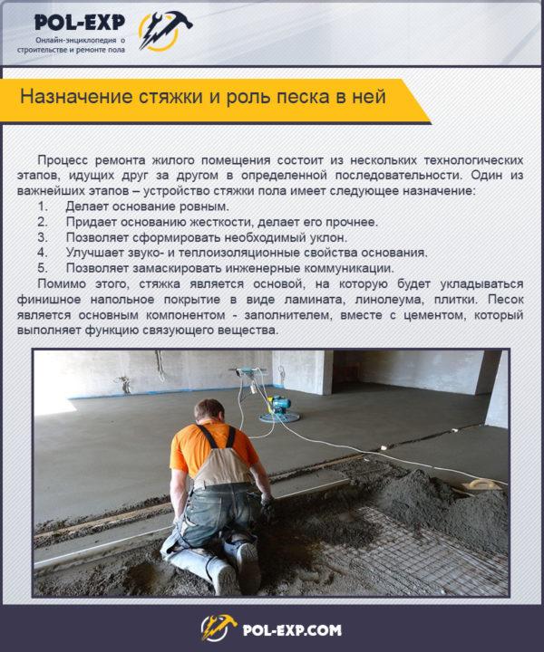 Назначение стяжки и роль песка в ней