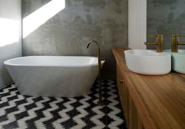 Оригинальная кафельная плитка – один из акцентов в дизайне ванной