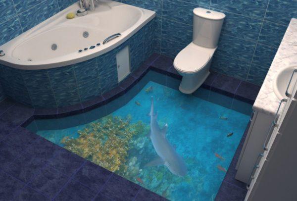 Наливной пол – это одно из самых современных решений для отделки ванной комнаты, которое может значительно преобразить интерьер и превратить его в подводный мир, уголочек тропического острова, если речь идет о 3D-полах