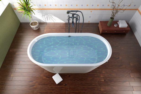 Ламинат позволяет создать уютную атмосферу в ванной
