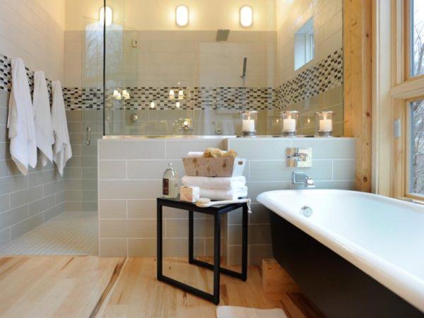 Комбинированный пол в ванной