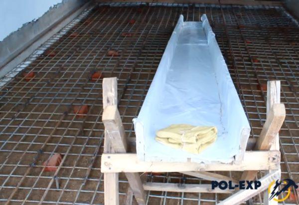 Изнутри желоб оббивается толстой полиэтиленовой пленкой