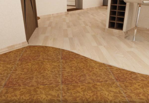 Сочетание линолеума и напольной плитки