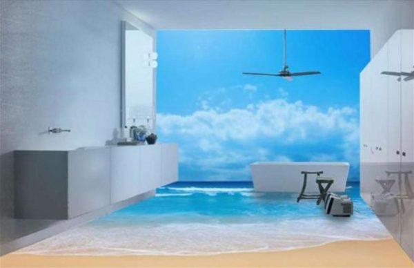 Морская тематика очень популярна для ванной