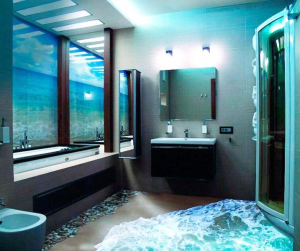 Наливной пол с рисунком в ванной