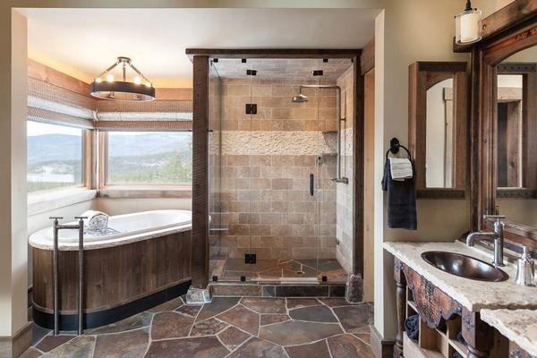 Натуральный камень имеет довольно широкое применение в ванной комнате