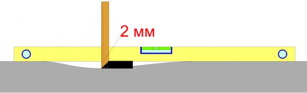 Перепад высоты не должен превышать 2 мм