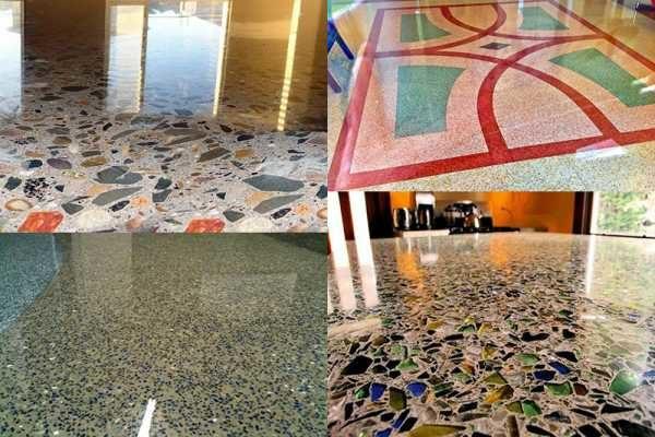 Мозаичный бетонный пол отличается высокой декоративностью