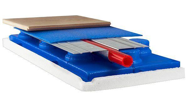 Укладка труб может осуществляться при помощи матов с бобышками и термопластин, эффективно отражающих тепло