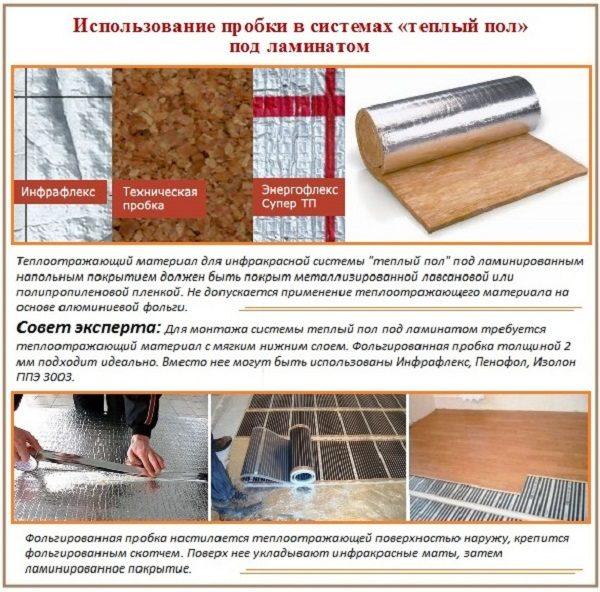 Пробковая подложка под теплый пол и ламинат