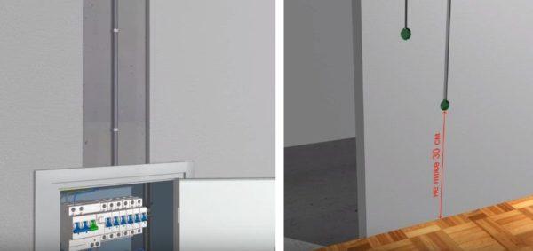 Делают штробы в стене для прокладки силового кабеля от распределительного щитка