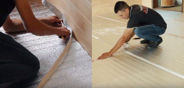 Аккуратно подрезают материал у стен и проклеивают стыки скотчем