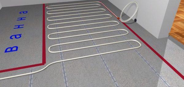 Выполняют укладку кабеля, начиная от места расположения коробки с термостатом