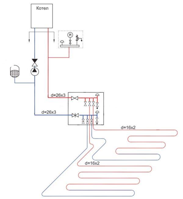 Схема подключения водяного контура к теплогенератору