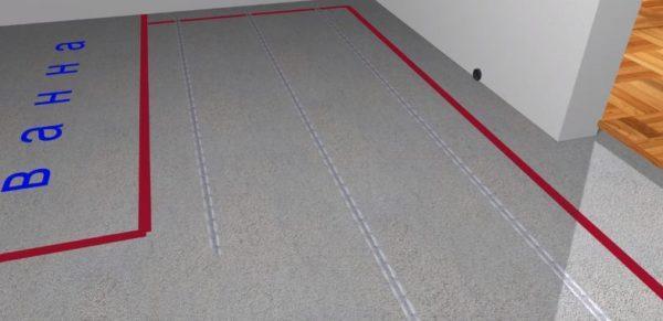 Согласно разметке на полу закрепляют специальную ленту для фиксации кабеля