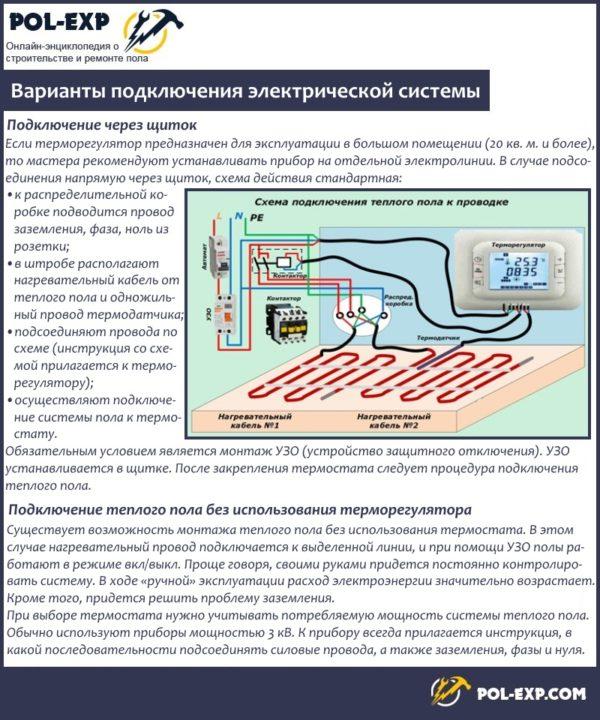 Варианты подключения электрической системы