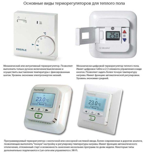 Виды терморегуляторов для теплого пола