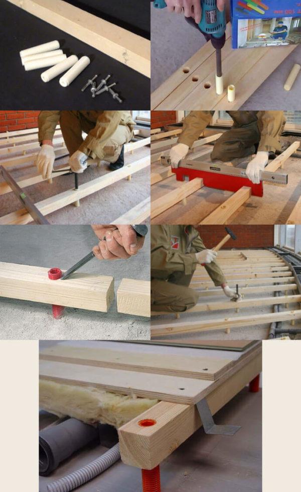 Основные этапы устройства деревянного пола