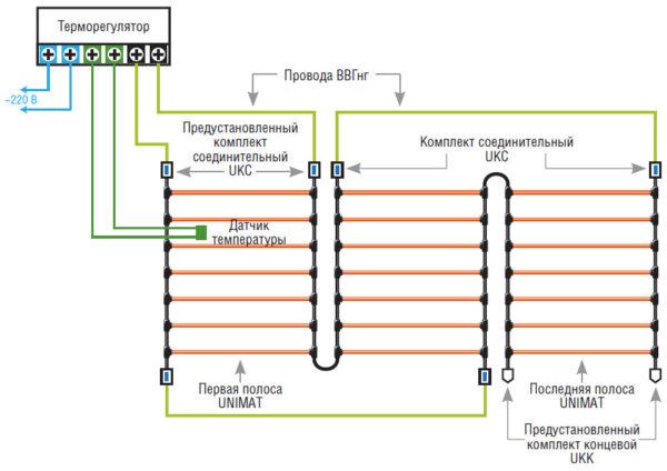 Схема последовательного подключения стержневого топлого пола