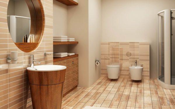 Полы в ванной из кварцвиниловых плиток