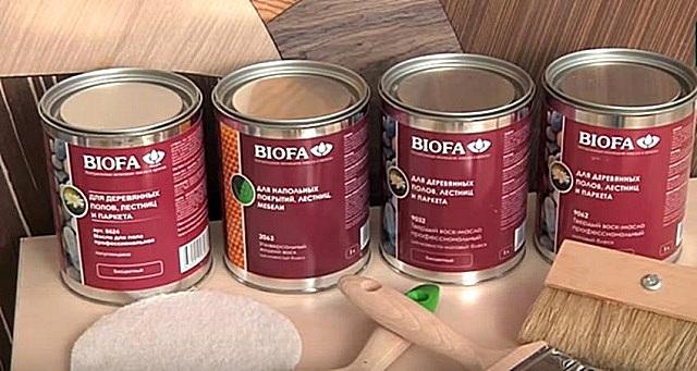 Продукция компании «BIOFA», которая будет использоваться в предлагаемом мастер-классе по покраске щита, имитирующего дощатое покрытие пола.
