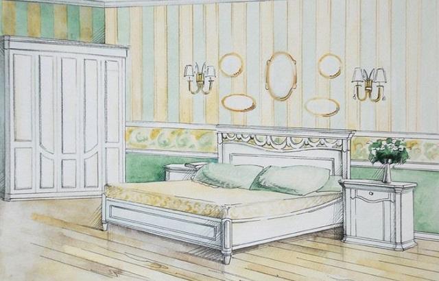 Пример эскиза интерьера спальни со светлым покрытием пола